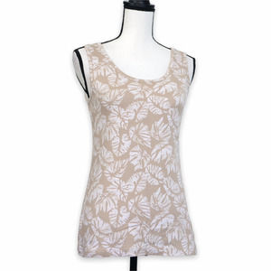 Lands' End Tropical Tank Top Size XS Beige White Banana Leaves Floral Print
